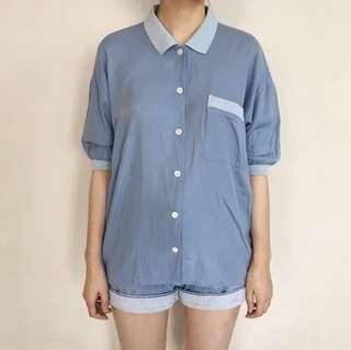 Oversized Blue Polo Shirt