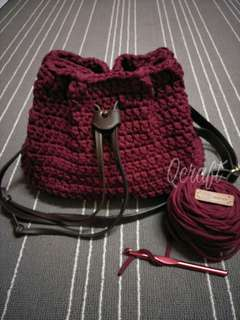 Maroon Bucket Bag with Leather strap