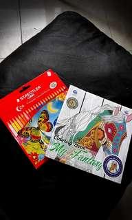 Coloring Book + Staedtler Luna 24 Coloured Pencils