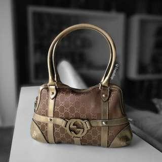 Authentic Gucci Interlocking Grip G Pattern Canvas Shoulder Bag