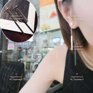金黑前後吊長條耳環EB085