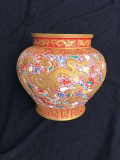 Qing Dynasty Yong Zhen reign Mark Famille rose vase with dragon n  Phoenix decoration 38cm diameter x 33cm High. 凊三代龍鳳并