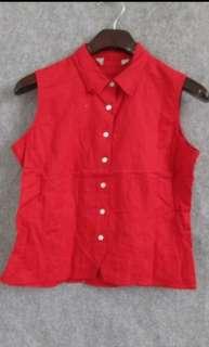 🚚 正紅色棉麻夏季無袖襯衫