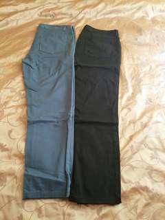 $70/2件GIORDANO Pants(black & blue)