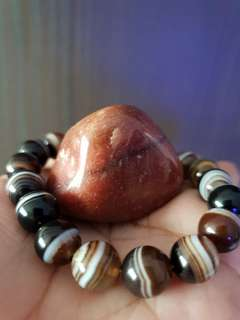 Agate Bracelet (10mm) + Red Jasper Stone