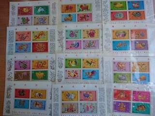 香港生肖小全張(1987-1998)/郵票