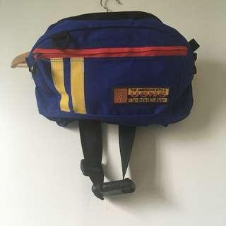 🚚 [古著/vintage]絕版超可愛藍色撞色腰包