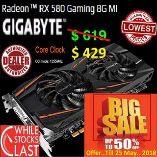 "Gigabyte RX 580 Gaming 8G MI Radeon™..( Big Save till 25 May 2018 ) ""While Stock Last.."""