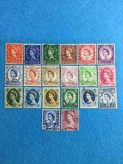 1952-1960 Great Britain Wildings 20 Values Used Short Set Including Some Regionals. Watermark Unchecked