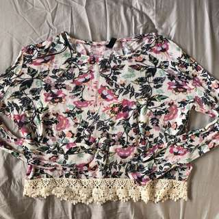 H&M floral semi-crop top