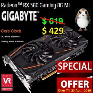 "Gigabyte RX 580 Gaming 8G MI Radeon™..( Special Offer till 23 Apr 2018 ) ""While Stock Last.."""