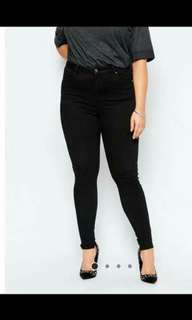 Big size plain blk denim skinny jeans