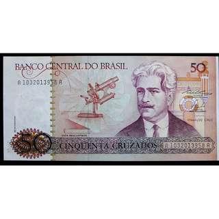 1987年巴西中央銀行名物理學家克魯茲像及學院50古薩度鈔票