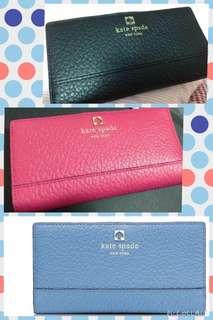 全新Kate Spade Stacy Wallet 桃紅色黑色淺藍色真皮長銀包 有13卡位 1相位 購自美國官網