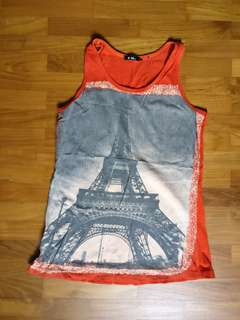 Red sleeveless graphic Eiffel Tower singlet top