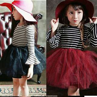 *FREE DELIVERY to WM only / Pre order 18 days* Kids stripes long sleeves dress each as shown design/color. Free delivery is applied for this item.