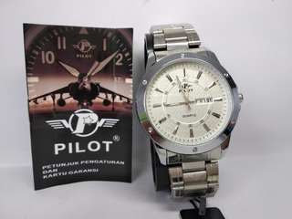 Jam tangan pria pilot quartz silver tgl hri