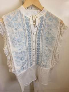Embroidered White Lace Top