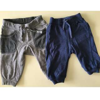 H&M Blue and gray pants, 4-6 months