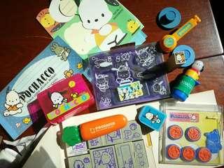 Sario Stamp Sets and memo pad