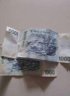 Uang korea 1000 won