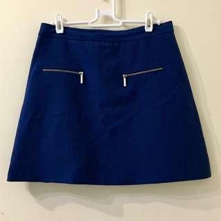 Zara Blue Mini Skirt with Zips