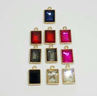 10pcs Rectangular Glass Charms