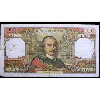 1972年法蘭西銀行(Bank of France)名悲劇作家高乃依像100法郎(Francs)鈔票