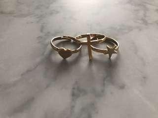 3 dainty rings