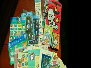 Sario stickers, memo pads and letter sets