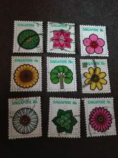 Singapore Stamps Flowers Used 1973