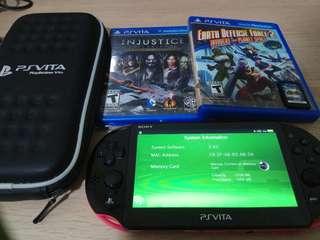 PS Vita Slim v3.63 (Black/Pink) w/ 3 Games
