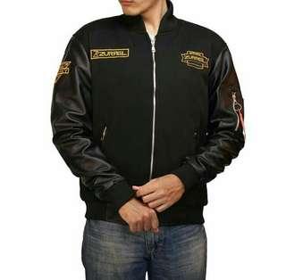 jaket boomber ZURREL kombi karlit hitam