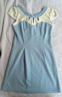 Korean style light blue dress