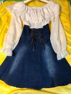 Dress with White Chiffon Top and Denim Corset Skirt