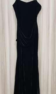 Black velvet dinner gown