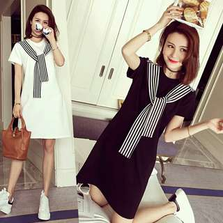 New Women Summer Plus Size Dresses Sweet Girls Short Sleeve Long Tops Loose Mini Dress Bow Round Neck Sexy