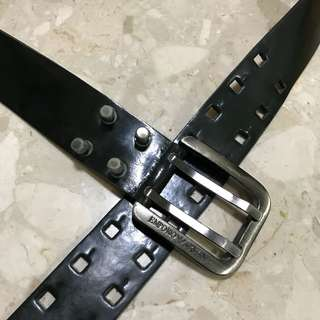 Emporio Armani dark green leather belt