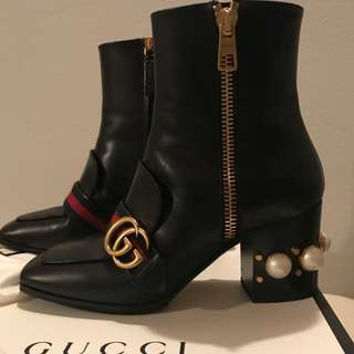 authentic gucci boots with pearl heels