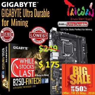 "Gigabyte B250 Fintech 12GPU Mining Motherboard..( Big Save.. Till 25 May.. 2018 ) ""While Stock Last..."""
