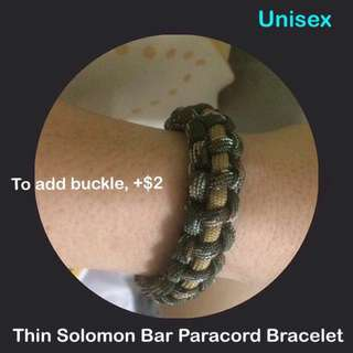 Paracord Thin Solomon Bar Bracelet (unisex; price quoted is for loop & knot closure; to add buckle, +$2) (550 paracord550; uncle anthony)  FOR MORE PICS & DETAILS, 👉 http://carousell.com/p/167102217