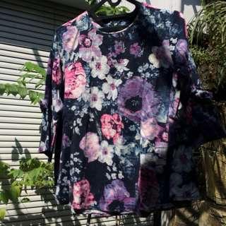 Peplum Top Dress Navy Blue Purple Floral Blouse 3/4