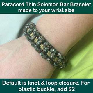 Paracord Thin Solomon Bar Bracelet (make to wrist size; default is knot & loop closure) [550 Paracord550 gifts handmade uncle anthony]