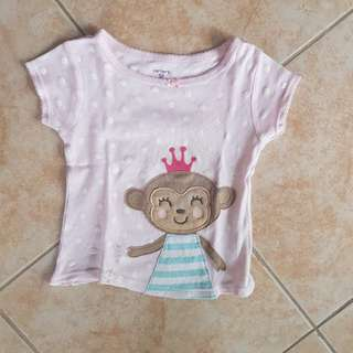 Carter's Top 18m with monkey design tshirt t shirt