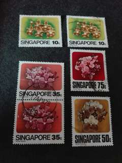 Singapore Stamps Orchids Used