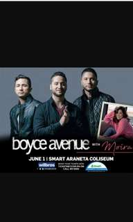 2 VIP  tix BOYCE AVENUE with MOIRA discounted tickets