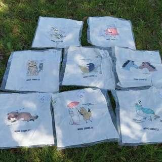 Comme 休閒生活品牌 個性圖案復古時尚帆布包 棉麻袋 課本袋 薄款