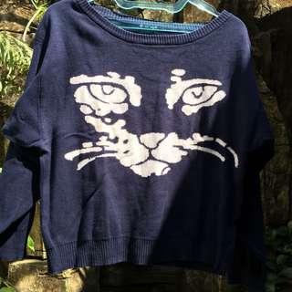 Navy Blue Cat Sweater