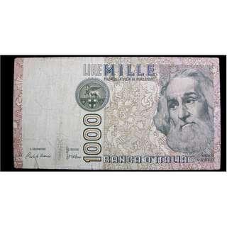 1982年意大利銀行名探險家馬可孛羅及威尼斯廣場1000里拉鈔票