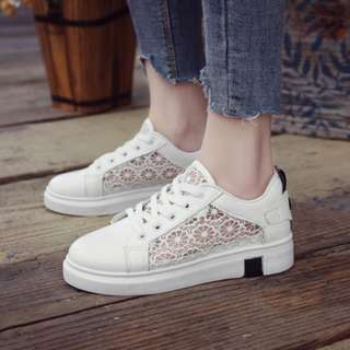 [PRE-ORDER] Women Net Comfy Low Heel Casual Sport Running Plus Size Sneaker Shoes [Whiet Black/White Red]